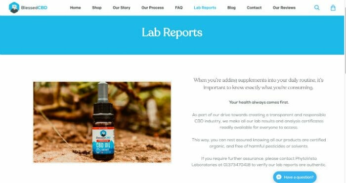 Blessed CBD Lab Reports