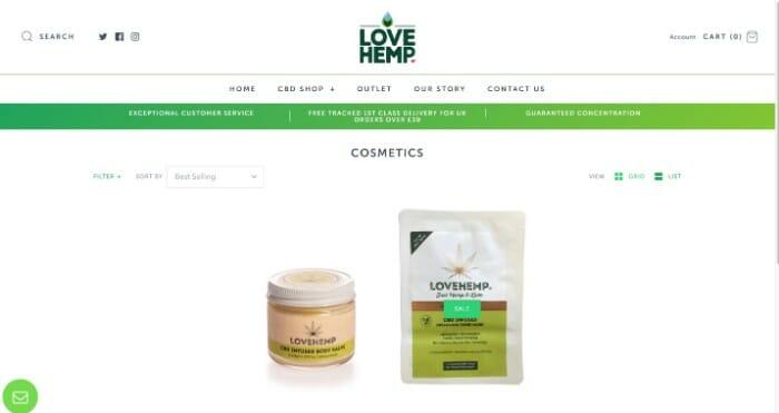 Love Hemp CBD cosmetics