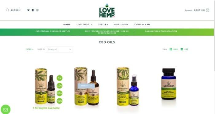 Love Hemp CBD oils