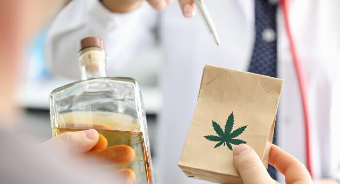 CBD and alcohol should be avoided as they can boost each others effects.