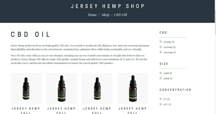 Jersey Hemp CBD oils